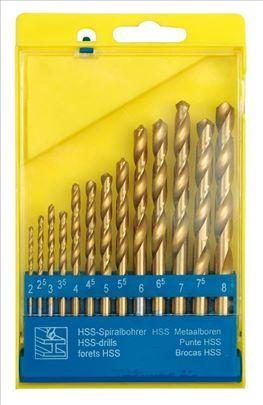 Burgija zute titan za metal HSS 2-8 mm