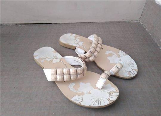 Ženske kožne papuče, broj 39, bež boje
