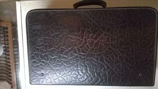 Starinski kozni kofer crni, dužina 45, širina 27