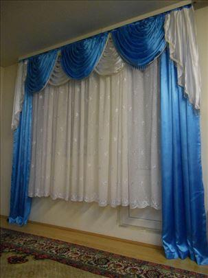 Draperi kraljevski plavo-beli sa bisernom trakom
