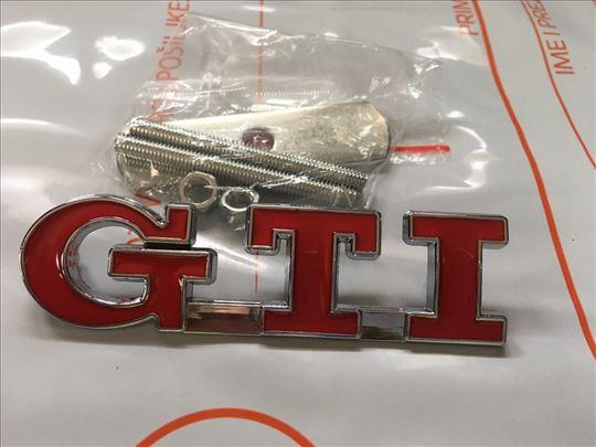 Natpis znak GTI na vijak metalni - crveni - prednj