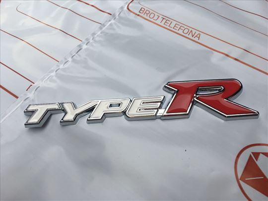 Natpis znak HONDA Type R / TypeR - metalni