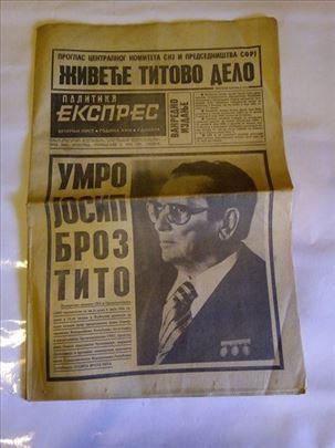 Politika expres od 5 maja 1980-Smrt druga Tita