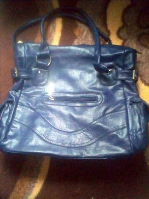 Kožna ženska torba/plava/