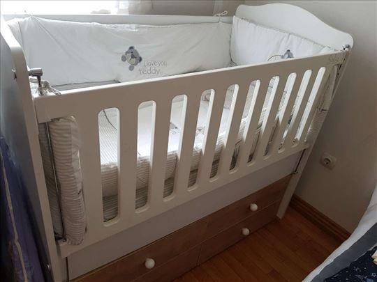 krevetac za bebe 2 u 1 sa dušecima!