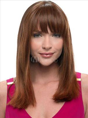 PERIKA100% prirodna kosa.Duga ravna kestenjasta