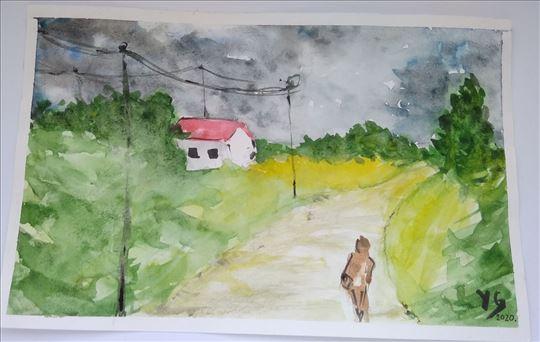 Putnik, akvarel slika