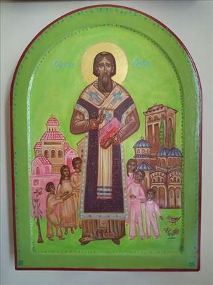 Sveti Sava sa decom, ikona, 36x26 cm
