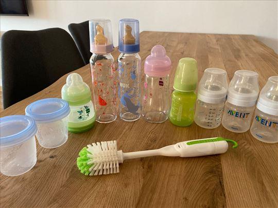 Flašice, teglice, četka za pranje flašica