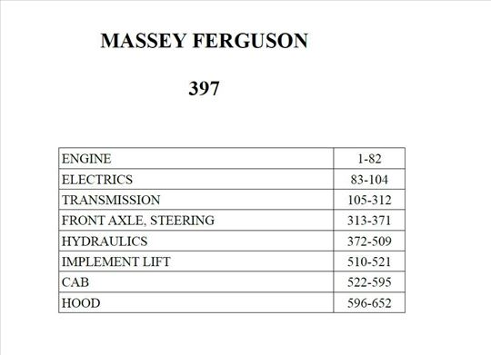 Massey Ferguson 397 - Katalog delova