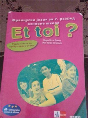 Radna sveska za Francuski jezik za 7. sedmi razred