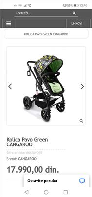 Prodajem Moni Pavo Green  kolica 2u 1