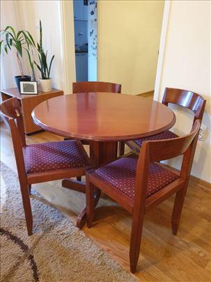 Okrugli trpezarijski sto i 4 stolice