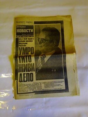 Vecernje novosti od 5 maja 1980-Smrt druga Tita