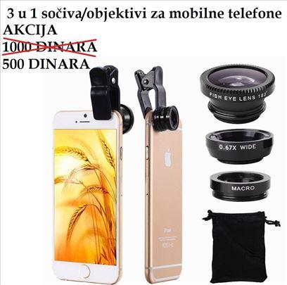 3 u 1 sočiva/objektivi za mobilne telefone - crna