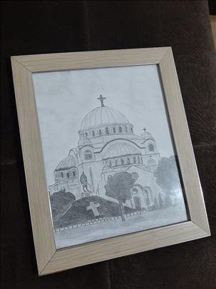 Crtež u ramu - Hram Sv. Save
