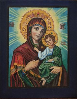 Ikona Bogorodice sa Hristos na platnu