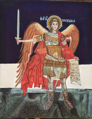 Slavska ikona Ahandjela Mihajla na platnu