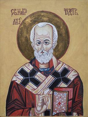 Slavska ikona Svetog Nikole na platnu