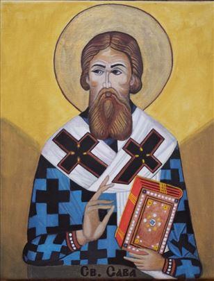 Slavska ikona Svetog Save na platnu