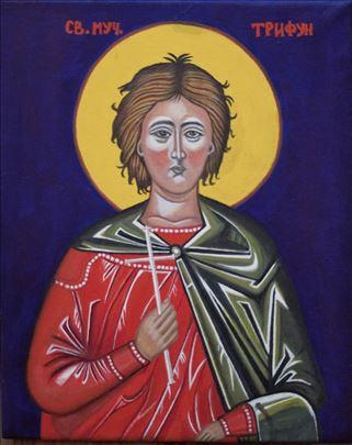 Slavska ikona Svetog Trifuna na platnu