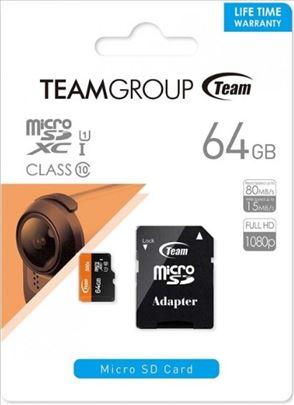 TeamGroup MICRO SDXC 64GB UHS-I +SD Adapter TUSDX6