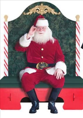 Novogodišnje sanke i fotelja Deda Mraza