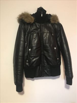 Crna kožna jakna sa kapuljačom zimska GIPSY