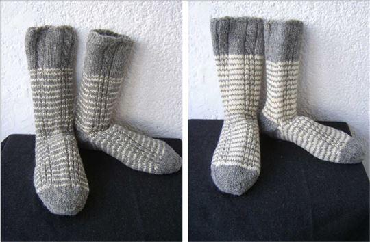 Sive Čarape Sa Belom Šarom Ručni Rad