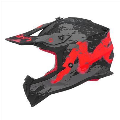Kaciga Nox N633 Trash mat crno crvena-Cross