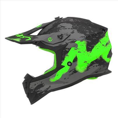 Kaciga Nox N633 Trash mat crno zelena-Cross