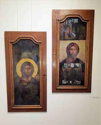 Колаж-икона са Христовим ликом 100х50 цм