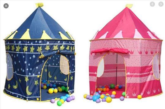 Šator dvorac za decu roze i plavi okrugli mobilni