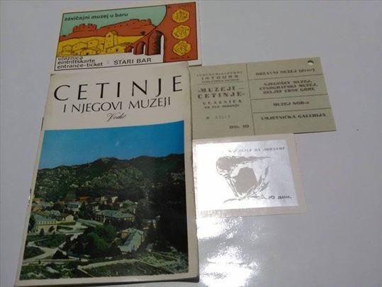 Cetinje i njegovi muzeji vodič+2 ulaznice iz 1972.