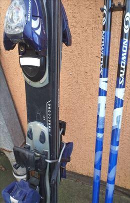 Salomon komplet skije, stapovi, vezovi, pancerice