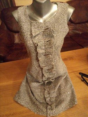 Siva zimska haljina sa lame šljokicama