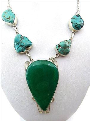 MASIVNA srebrna ogrlica prirodan EMERALD TIRKIZ