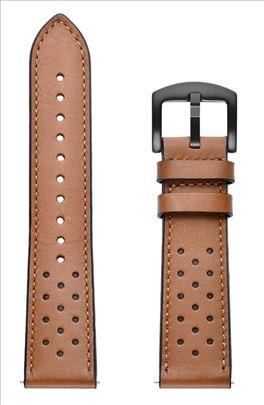Braon kožna narukvica sa rupicama za smart watch