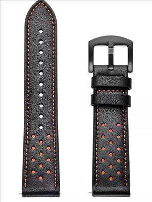 Crna kožna narukvica sa rupicama za smart watch