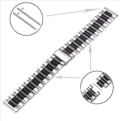 Siva metalna narukvica sa crnom linijom za Huawei