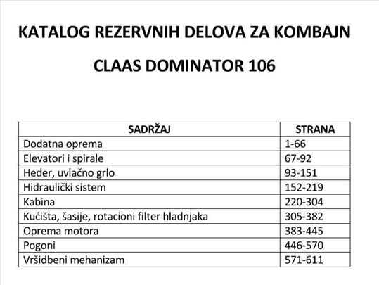 Claas Dominator 106 - Katalog rezervnih delova