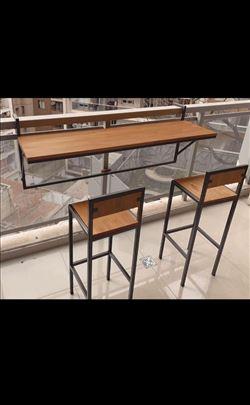 Barski sto za terasu sa 2 stolice