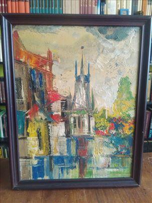 slika ulje na platnu gradski pejzaž- autor torbica