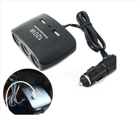 3 utičnice za auto+ 2 USB ulaza