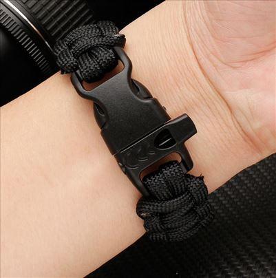 Pletena platnena crna narukvica 22 mm za Huawei
