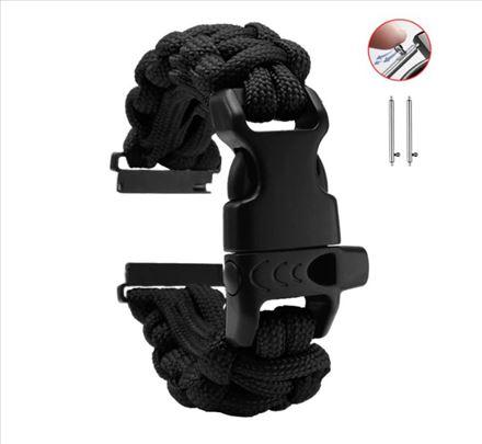 Pletena platnena crna narukvica 22 mm za Samsung