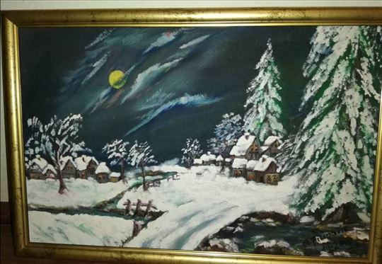 """Slika u ulju pod nazivom """"Zimska noć"""""""