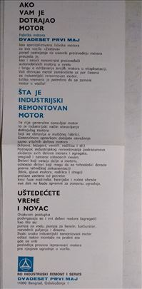 Uputstvo o remontovanim motorima 21,maj ,2 str.