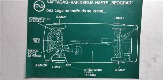 Uputstvo za podmazivanje auta Naftagas,1 str.
