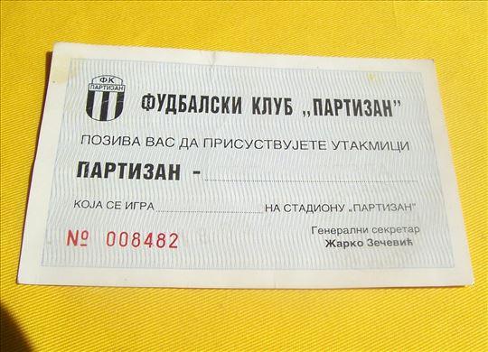 Partizan - Crvena Zvezda 18.03.1995. ulaznica